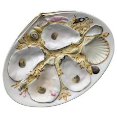Antique Union Porcelain Works (UPW) Oyster Plate, Pale Yellow Seaweed