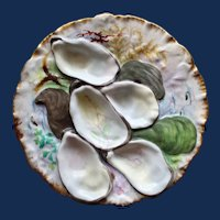 """1876-1886 Antique French Haviland & Co. Limoges """"Turkey"""" Oyster Plate, Outstanding Decoration"""
