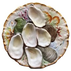 "Antique Haviland  Limoges ""Turkey"" Oyster Plate, Stunning Seaweed Decoration"
