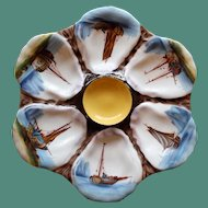 Antique Oyster Plate with Hand Painted Boat Scenes in Wells, Yellow Center