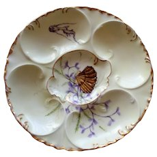 Antique Yellow Haviland Limoges Oyster Plate, Shell, Seaweed, Fish