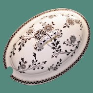 "Antique 1883 English Brown Transferware Lid, ""Gem"""