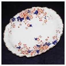 Antique Scalloped Hand Painted Oval Dish with Imari Colors