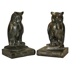 Pair of Vintage Metal Bookends with Owls