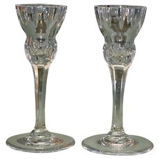 Waterford Pair of 6 Inch Marquis Candlesticks, Cut Glass