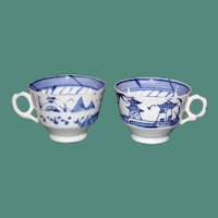 Pair Antique Chinese Hand Painted Blue and White Cups