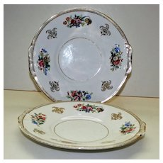 Pair of Antique Hand Painted Cake Plates
