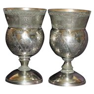 Pair of Antique Silver Plate Goblets, Egyptian Design