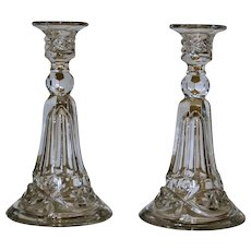 Pair Tall Vintage Pressed Glass Candlesticks