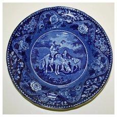 Antique Historical Dark Blue Transferware Bowl, Don Quixote and Sancho Panza (Clews)