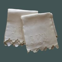 Antique Pair of Monogrammed, Scalloped  Linen Towels