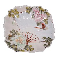 Antique Pair of Aesthetic Period Dishes with Fans and Butterflies