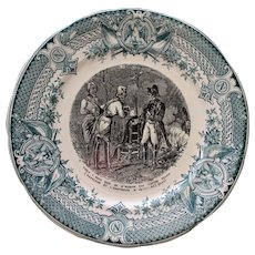 1891-1900 Antique French Faience Transferware Plate, Napoleon