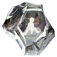 Val St. Lambert Crystal Paperweight with Child Etched in Bottom