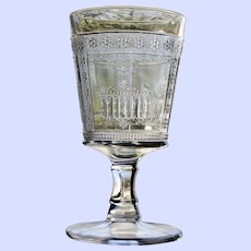 """Antique """"Parthenon"""" or """"Egyptian"""" Goblet, Early American Pattern Glass"""
