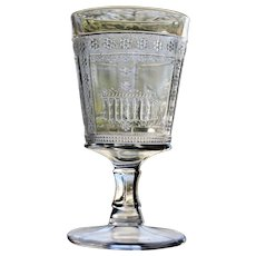 "Antique ""Parthenon"" or ""Egyptian"" Goblet, Early American Pattern Glass"