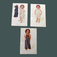Set of 3 Antique Postcards, Child Dressing Herself-Victory!