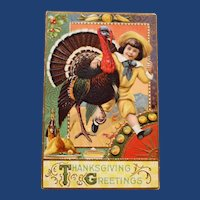 Antique Thanksgiving Postcard with Boy and Turkey