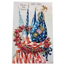 Patriotic Tuck Postcard: Honor the Brave 1861-1865