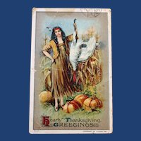 Antique Thanksgiving Postcard with Indian Maiden, Harvest