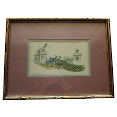Vintage Framed Postcard With Peacocks and Songbird