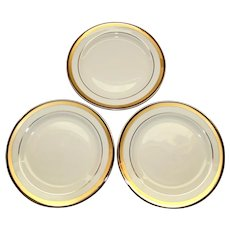 Set of 3 Gold Rimmed Pickard China, Champagne Pattern