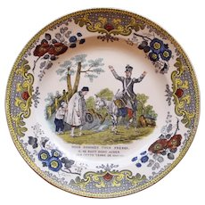 c. 1830 French Creil Faience Plate, Soldier Addressing Peasants