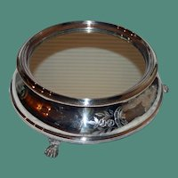 Antique Mirrored Silver Plate Plateau, 16 Inches, with Wooden Base