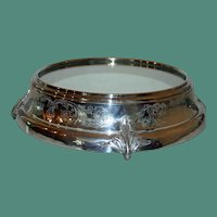 "17"" Grand Antique Mirrored Silver Plate Plateau"