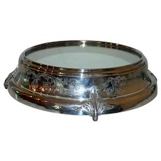 Grand Antique Mirrored Silver Plate Plateau, 17 Inches