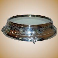 "17"" Grand Antique Mirrored Silver Plate Plateau"