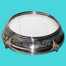 17 Inch  Antique Silver Plate Plateau with Mirror Top & Wood Bottom