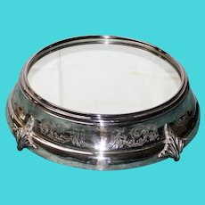 17 Inch Antique American Silver Plate Plateau with Mirror Top & Wood Bottom