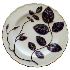 1877 Antique Mintons Plate with Enameled Cobalt and Gilt Leaves