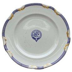 "c. 1800 Sharpus & Co. Burnett (Scottish) Clan Plate w Crest, Motto ""Virescit Vulnere Virtus"" #1"