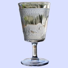 """""""Polar Bear"""" Goblet, Early American Pattern Glass, Hard to Find"""
