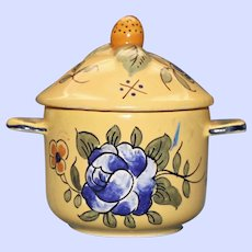 Antique French Vieux Montpellier Yellow Faience Pot de Creme