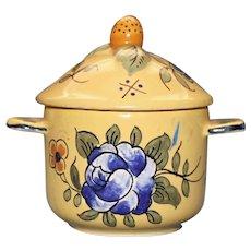 Antique French Vieux Montpellier Yellow Faience Pot de Creme