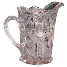 Antique Pressed Glass Pitcher with Complex Design