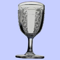 """Prism and Daisy Bar"" Goblet, Early American Pattern Glass"