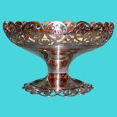 "Antique American Reed & Barton Silver Plate Pedestal Bowl, 6"" Tall"
