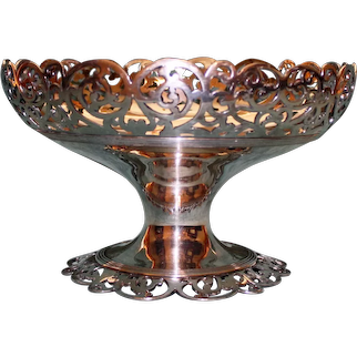 Antique Reed & Barton Silver Plate Pedestal Bowl, 6 Inches Tall