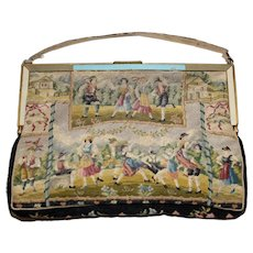 Antique Petit Point Purse Featuring French Peasants