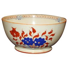 c.1820 Sugar Bowl, Deep Orange and Blue on Cream Chinoiserie