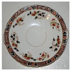 Antique Cake Plate with Imari Colors -- Cobalt and Deep Orange