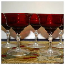 Set of 6 Ruby 5 Inch Dessert Goblets, Clear Stems