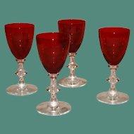 Set of 4 Vintage Ruby Red Liquer Glasses