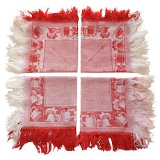 Set of 7 Vintage Fringed Red and White Napkins