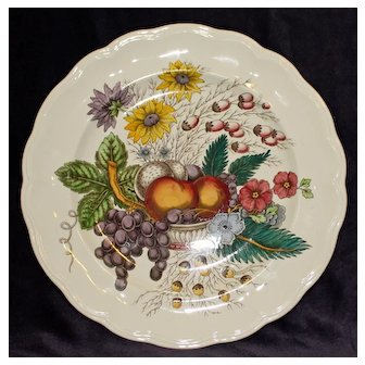 Spode Chop Plate or Round Platter in Colorful Reynolds Pattern