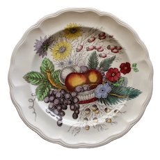 "12.5 Inch English Spode Chop Plate or Round Platter in Vivid ""Reynolds"" Pattern"